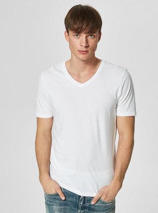Bílé basic tričko s véčkovým výstřihem Selected Homme