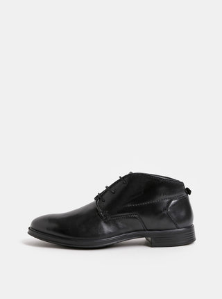 Čierne pánske kožené členkové topánky bugatti Leolo