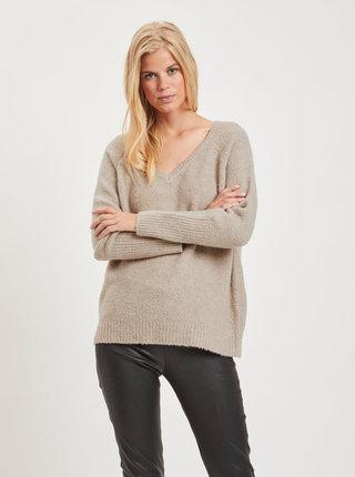 Béžový voľný basic sveter s prímesou vlny VILA
