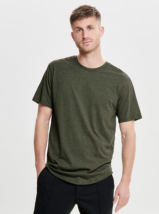 Khaki žíhané basic tričko ONLY & SONS Matt