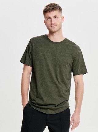 Kaki melírované basic tričko ONLY & SONS Matt