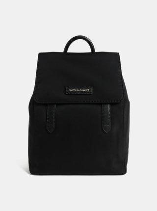 Černý batoh s koženými detaily Smith & Canova