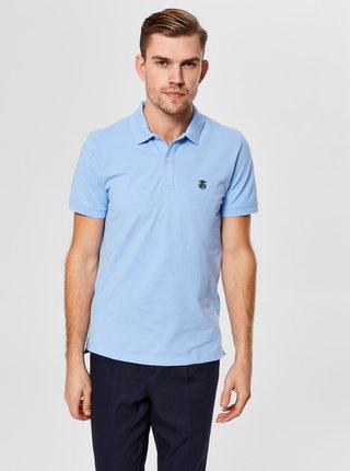 Světle modré basic polo tričko s výšivkou Selected Homme Haro