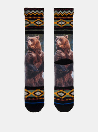 Zeleno–čierne pánske ponožky s motívom medveďa XPOOOS