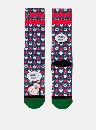 Červeno–modré pánske ponožky s motívom Mikuláša XPOOOS