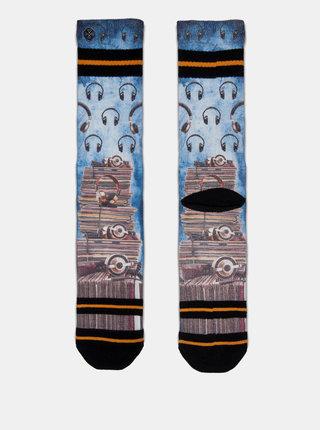 Hnědo-modré pánské ponožky s motivem desek a sluchátek XPOOOS