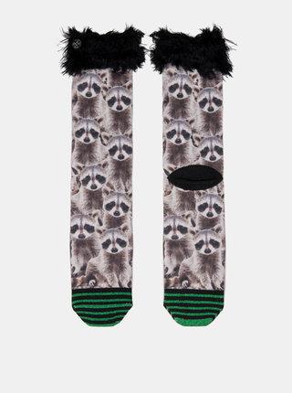 Čierno–hnedé dámske ponožky s motívom medvedíka čistotného XPOOOS