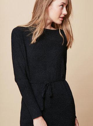 Čierne svetrové minišaty s dlhým rukávom a zaväzovaním touch me.