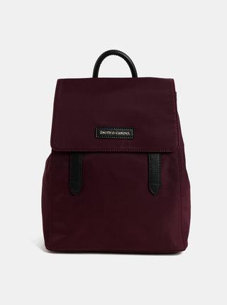 Vínový batoh s koženými detaily Smith & Canova