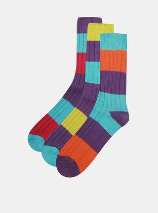 Súprava troch unisex pruhovaných farebných ponožiek Oddsocks Rocky