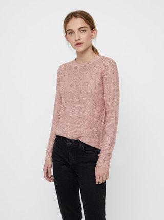 Světle růžový svetr s flitry VERO MODA Leilani