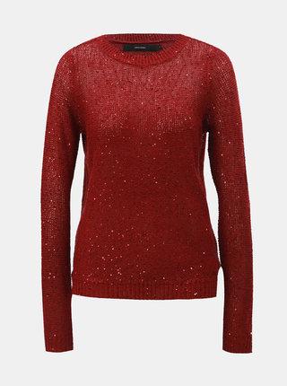 Vínový sveter s flitrami VERO MODA Leilani