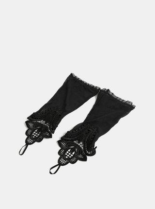 Čierne priesvitné rukavičky s čipkou Obsessive