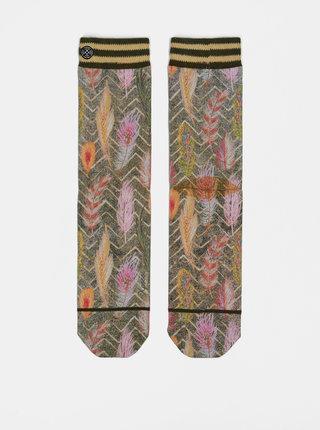 Oranžovo–zelené dámske ponožky s motívom pierok XPOOOS