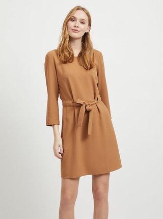 Svetlohnedé šaty so zaväzovaním VILA Naomi