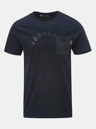 Tricou albastru inchis cu buzunar la piept si imprimeu Jack & Jones Moral