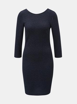 Tmavomodré trblietavé puzdrové šaty s 3/4 rukávom Jacqueline de Yong