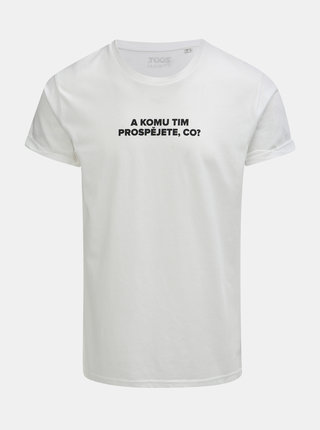 Biele pánske tričko s potlačou ZOOT Original Komu tim prospějete