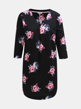 Čierna dámska kvetovaná tunika s 3/4 rukávom Tom Joule