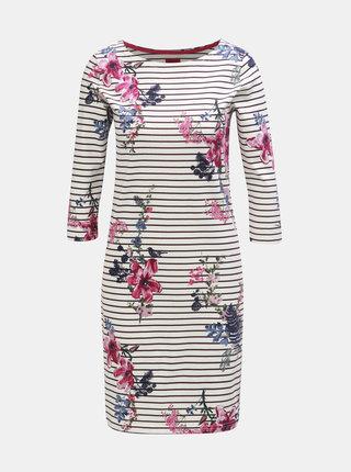 Fialovo–biele kvetované pruhované šaty s 3/4 rukávom Tom Joule