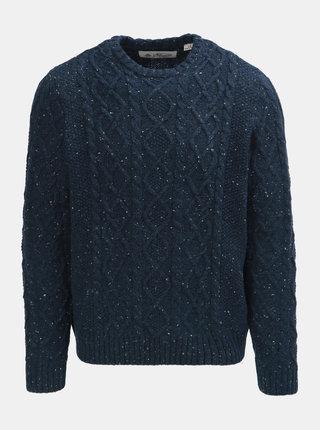 Tmavomodrý melírovaný vlnený sveter Original Penguin