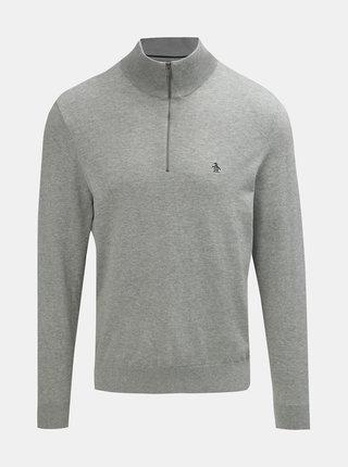 Svetlosivý melírovaný tenký sveter so zipsom Original Penguin