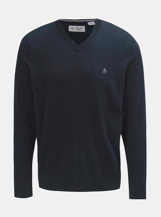 Tmavomodrý tenký sveter s véčkovým výstrihom Original Penguin