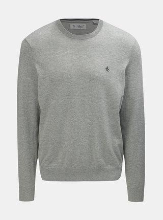 Světle šedý žíhaný basic svetr s kulatým výstřihem Original Penguin