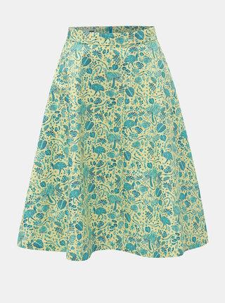 Modro–zelená sukňa s motívom listov annanemone