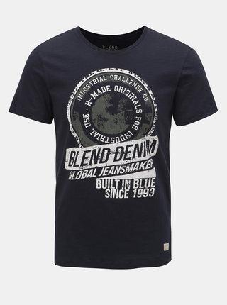 Tricou albastru inchis cu inscriptie Blend