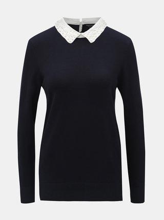Tmavomodrý sveter s golierikom a korálkami v tvare perličiek Dorothy Perkins