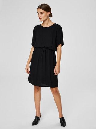 Čierne šaty so zaväzovaním v páse Selected Femme Tanna