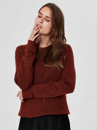 Hnědý žíhaný svetr s příměsí vlny Selected Femme Enva