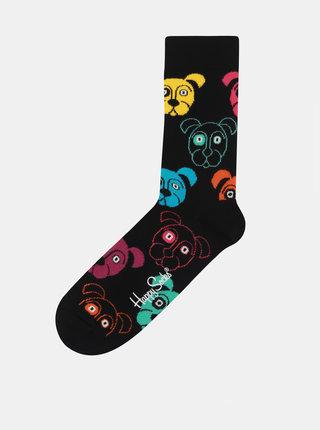 Černé unisex vzorované ponožky Happy Socks