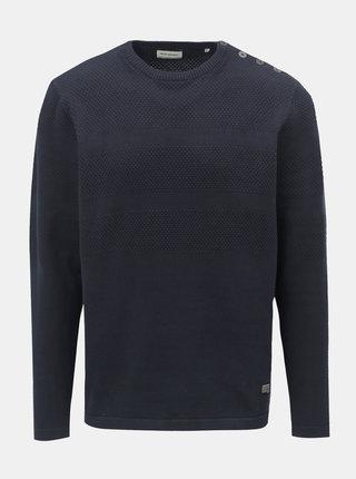 Tmavomodrý vzorovaný sveter s gombíkmi pri krku Shine Original
