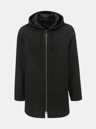 Pardesiu negru cu gluga si amestec de lana Shine Original