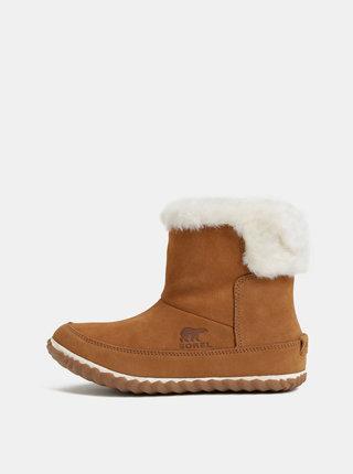 Hnedé dámske semišové zimné členkové topánky s vnútornou umelou kožušinkou SOREL OUT N ABOUT