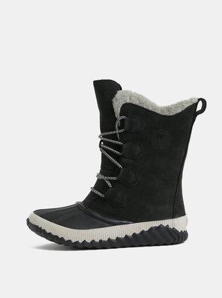 Cizme negre impermeabile din piele intoarsa de iarna de dama SOREL Newbie