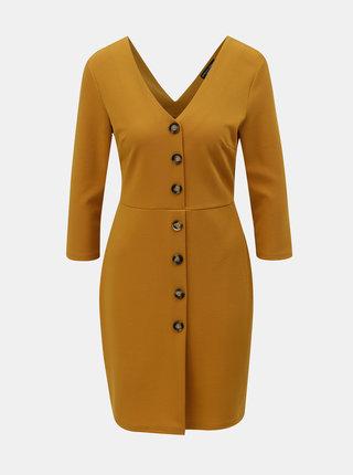 Horčicové šaty s gombíkmi Dorothy Perkins