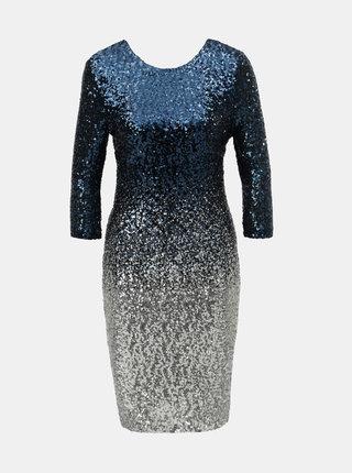 Rochie albastru inchis cu paiete, efect ombre si maneci 3/4 Dorothy Perkins