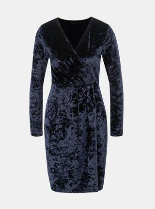 Tmavomodré zamatové šaty s prekladaným výstrihom Dorothy Perkins