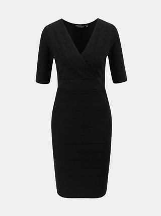 Čierne puzdrové šaty s prekladaným výstrihom Dorothy Perkins