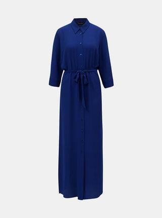 Tmavě modré košilové lehké maxišaty Dorothy Perkins