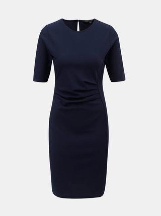Tmavomodré šaty s riasením na boku Dorothy Perkins
