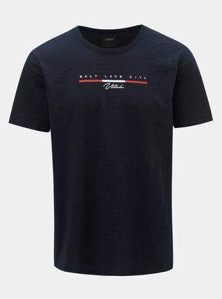 Tricou albastru inchis cu imprimeu Burton Menswear London