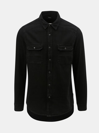 Camasa neagra din denim Burton Menswear London