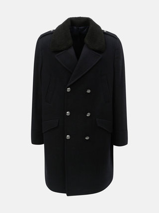 Tmavomodrý vlnený zimný kabát s odnímateľnou umelou kožušinkou Burton Menswear London