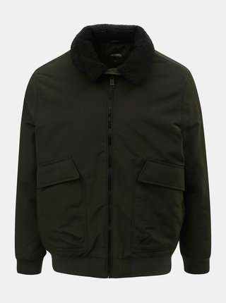 Kaki zimná bunda s umelou kožušinkou na golieri Burton Menswear London