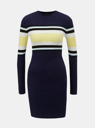 Žluto-modré svetrové šaty s dlouhým rukávem Miss Selfridge