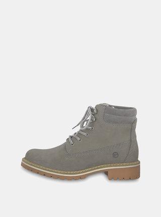 Sivé semišové členkové topánky Tamaris